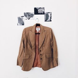 Oscar de la Renta Tan Wool Striped Blazer | 2P
